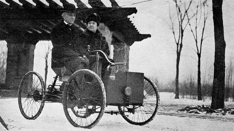 Henry Ford with his wife in his first car.