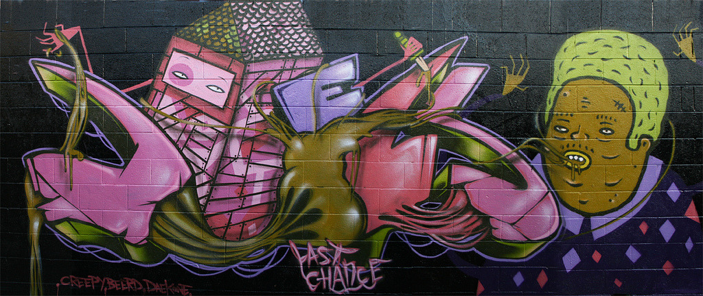 Still love this wall from '09 in Fitzroy. Back when i sucked at aerosol. Oh wait, i still do. Lucky for un-sucky friends. (Daek William + Creepy)