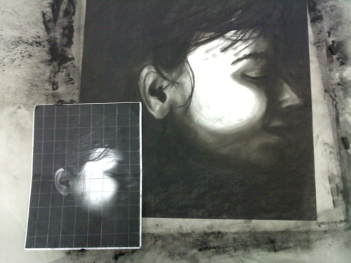 xeroxed my face then drew it with charcoal don't question
