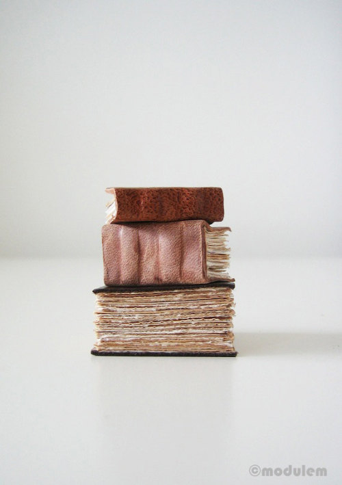 I've upcycled some vests and jackets into these miniature leather books with tea-stained paper via my shop: modulem