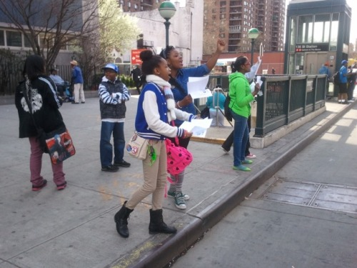 We Speak for Trayvon Martin: Junior Scholars take to the streets of Harlem to spread awareness of the Trayvon Martin case on Saturday, March 24, 2012. They engaged the community, young and old, with 1,000 flyers summarizing the case and ways to support.