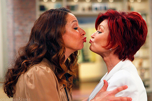 Almost kiss: Maya Rudolph and Sharon Osbourne, On the set of The Talk (2012)