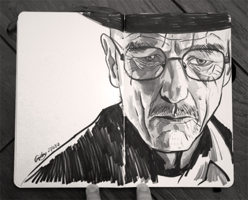 samgilbey:  Can't get enough Breaking Bad at the mo, so over lunch I inked a quick sketch of Walt.  I love Breaking Bad artwork