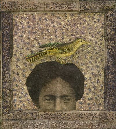 Betye Saar (American b.1926). Woman With Bird In Her Hair, 2010. mixed media collage on paperboard,13 1/2 x 12. © Michael Rosenfeld Gallery.
