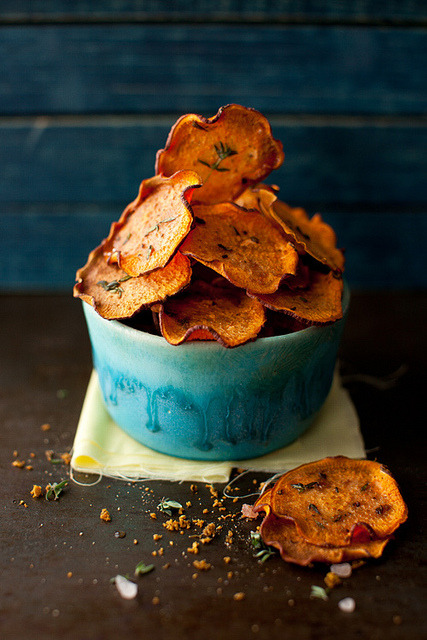 veganfeast:  Orange Sweet Potato Baked Chips with Thyme by Yelena Strokin on Flickr. yum