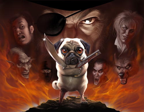 Apocalyptic pug by *Loopydave I'm still trying to figure out how David Bowie/Goblin King fits in with the other monsters/villains shown. I kind of want to get the graphic novel just to find out.