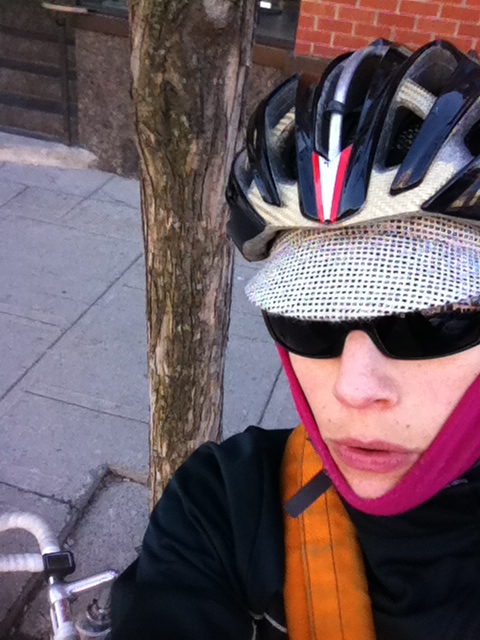 Cold face with @littlepackage cap at my bike parking tree for #CyclingCapTuesday