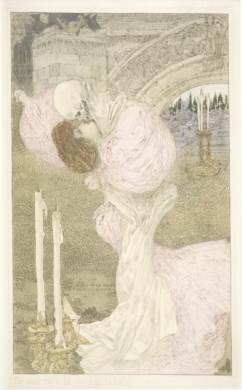 Elle aimait trop le bal, c'est ce qui l 'a tuée..  [Victor Hugo, Fantômes] Waltz of Death by Gustave Adolf Mossa, 1906 Watercolor and black chalk from The Minneapolis Institute of Arts thanks to ubu507