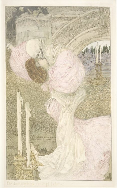 Elle aimait trop le bal, c'est ce qui l 'a tuée.. [Victor Hugo,Fantômes] Waltz of DeathbyGustave Adolf Mossa,1906 Watercolor and black chalk from The Minneapolis Institute of Arts thanks toubu507