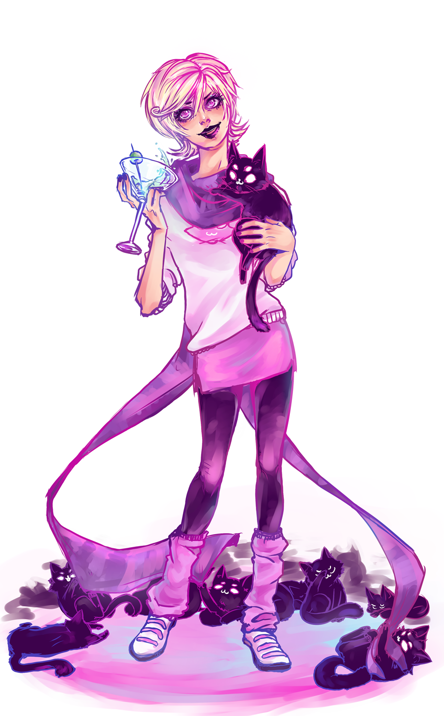 arcstuck:  roxy with some kitties (´・ω・`) she`s really fun to draw=w=