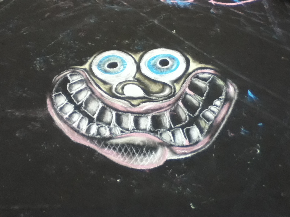 A cool face i drew in chalk down at the skatepark in progress in jersey shore, pa