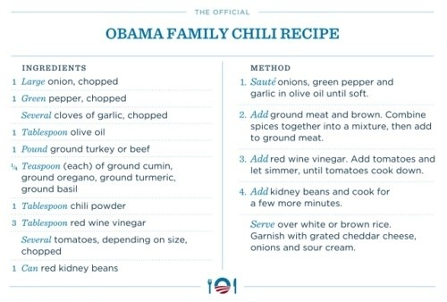 The Official Obama Family Chili Recipe: Must try.  via
