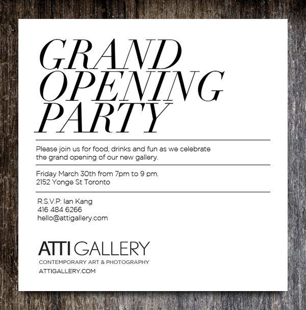 Atti Gallery Opening Party. This Friday. 7-9pm. Meet a few artists, look at some photographs/art, drink some wine. Details.