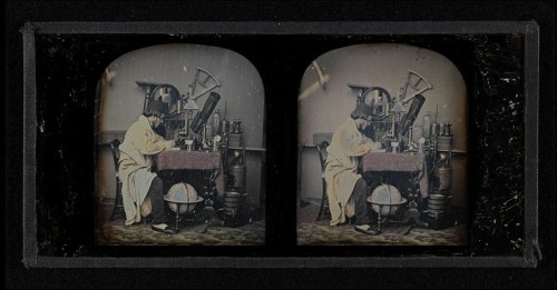 ca. 1851, [daguerreotype stereograph of a scientist in his laboratory], John Benjamin Dancer via the Victoria & Albert Museum, Prints Drawing and Paintings Collection