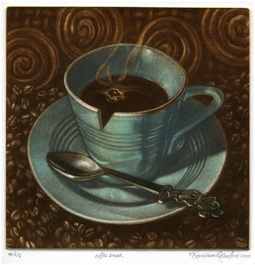 darksilenceinsuburbia:  Kath Rutherford. Coffee Break. http://www.originalprintsns.com/index.html