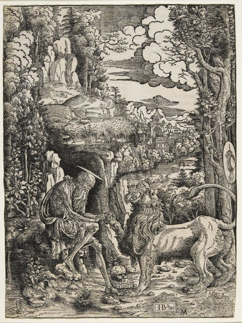 centuriespast:  Saint Jerome and the LionARTIST: Master I.B. with a BirdDATE: c. 1509MEDIUM: WoodcutDIMENSIONS: 11 5/8 x 8 5/8 in. (29.53 x 21.91 cm) (image)CREATION PLACE: Europe, Italy. Minneapolis Institute of Arts