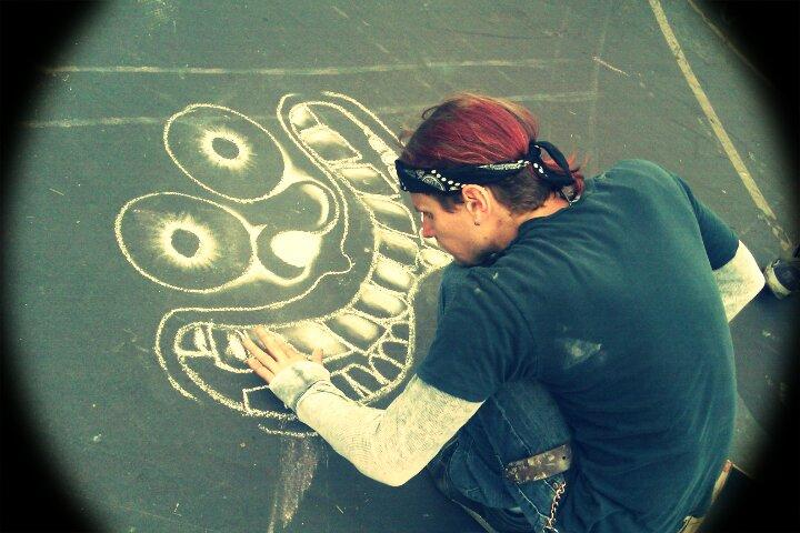 Me working on a chalk drawing in jersey shore, pa