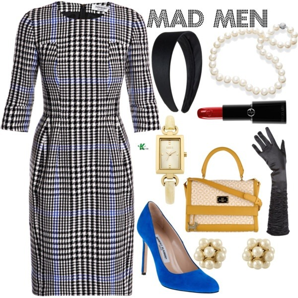 My creation inspired by Mad Men character Peggy Olson played by Elisabeth Moss. **Elisabeth has a timeless silhouette and simple glamour.  For this set I've chosen a straight cut plaid dress with three-quarter length sleeve, and paired it with a blue suede pump.  To accessorize and complete the outfit I've chosen a handbag with yellow detailing, black satin gloves and headband, pearl necklace and earrings, a gold watch and red lipstick. To purchase any of the items above, please click the link below: http://www.polyvore.com/mad_men/set?id=46127755