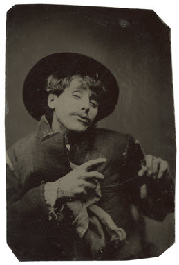 'sup tuesday-johnson:  ca. 1870-79, [tintype portrait of a pantomimist] via the Metropolitan Museum of Art, Photographs Collection