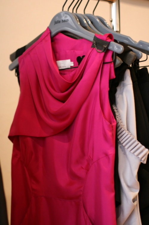 Flashback- One of our favorite pieces from the Julie Haus boutique during our store visit last year.  We love the bright pink and the zipper chain detail on the shoulder! Watch the video here!