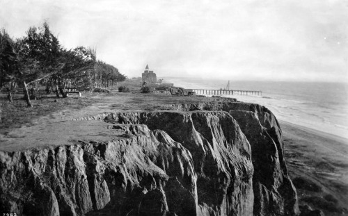 Circa 1895 view of Santa Monica's seaside bluffs. The Arcadia Hotel and a wharf - forerunner to today's Santa Monica Pier - are both visible in the distance.