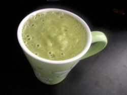 Fruit Vegan Smoothie 2 Ripe Banana3 stem of Kale LeafsSliced Fresh Pineapples Blend it until it turns smooth.No need water added or anything else.  Perfect for a Morning to have before workout so you can have good engery and it boots your day up after drink it in the morning! Total Vegetable/Fruit serving for the day: 4