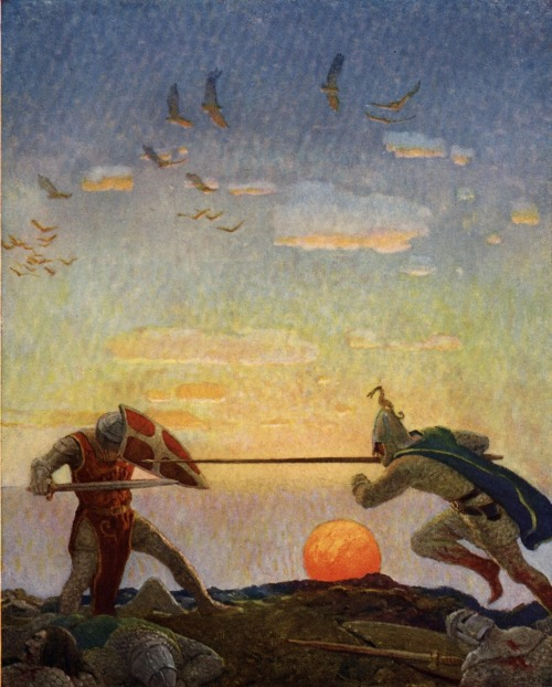 tatteredbanners:  Arthur and Mordred by N.C Wyeth