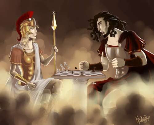 the-golden-fleece:  Ares et Athena by ~Nekorse