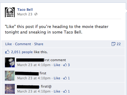 Just some cool dudes hanging out at the Taco Bell Facebook. -LO