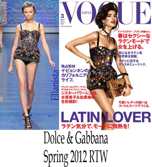 "Magazines Bianca Balti is muy caliente on the cover of Vogue Nippon's (Japan) March ""Latin Lover"" issue wearing a Dolce & Gabbana bustier, jewelry, and handbag."