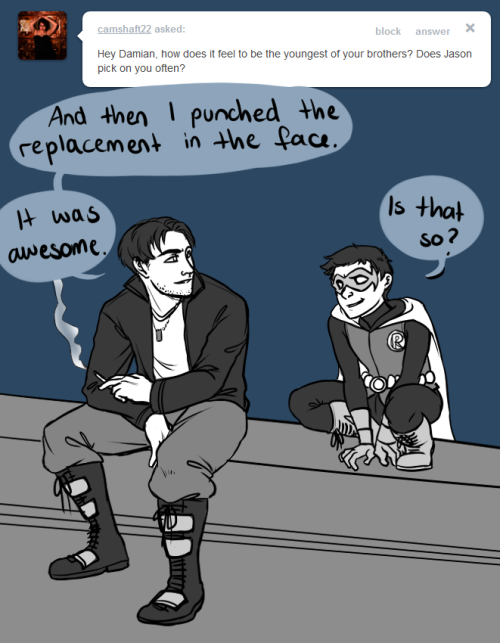 askdickanddamian:  Damian: Todd is not exactly picking on me.