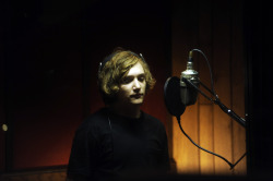 In legendary Memphis recording studio Ardent, Kyle Gallner lays down a vocal track for his band The Fingers in a scene from LOSERS TAKE ALL  photo by Katherine Bomboy