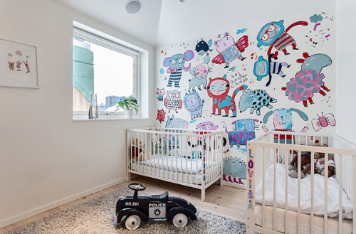 myidealhome:  cute wallpaper for babies' room (via Miss Design)