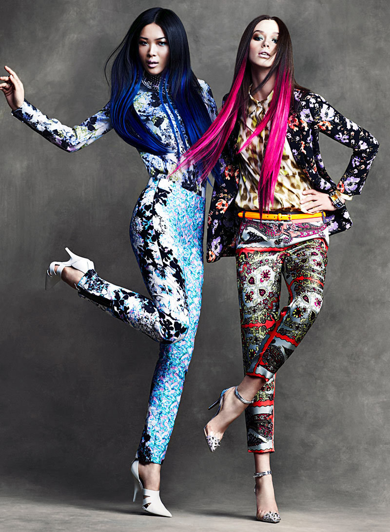 Wei & DJ by Chris Nicholls for Flare April 2012: A perfect example of this seasons major trends: dip-dyed ends and clashing patterns.