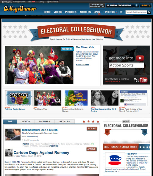 "Have you checked out our new Politics section yet? We named it ""Electoral CollegeHumor"" because we're f*cking clever."