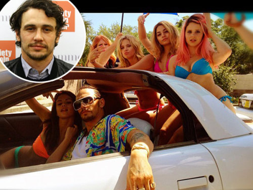 New pic from the set of 'Spring Breakers' with Vanessa Hudgens and Selena Gomez. Is that James Franco?
