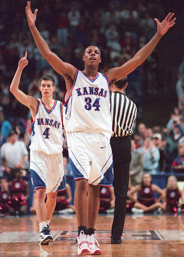March Madness Memories…. Kansas Jayhawks' Paul Pierce celebrates in style.