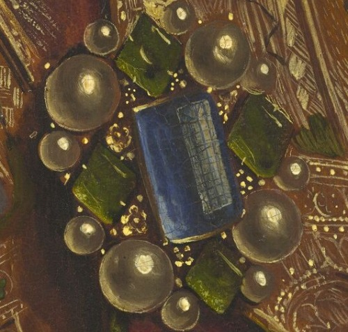"manpodcast:  Jan and Hubert (?) van Eyck, detail from ""Singing Angels"" panel of the Ghent Altarpiece, 1432.  Most of the press around the new ""Closer to van Eyck"" website has spotlighted that a giant JPEG of the Ghent Altarpiece is now available in 100 billion pixels. That's true, but the site is much more than that: It includes huge JPEGs of the altarpiece made with many different kinds of photography. For the story of the brooch pictured above (is that a window reflected in it?), visit Modern Art Notes. It's a pretty amazing art historical + scientific tale.  That post on MAN comes from this week's Modern Art Notes Podcast, which features art historian and technical documentation specialist Ron Spronk talking about how the new ""Closer to van Eyck"" website will help art historians to make new discoveries about the Ghent Altarpiece, one of the greatest objects in art — and about Jan van Eyck's work in general. To download or subscribe to The Modern Art Notes Podcast via iTunes, click here (or click on the image above). To download the program directly, click here. To subscribe to The MAN Podcast's RSS feed, click here. You can stream the program and see images of the art discussed on this week's show here."