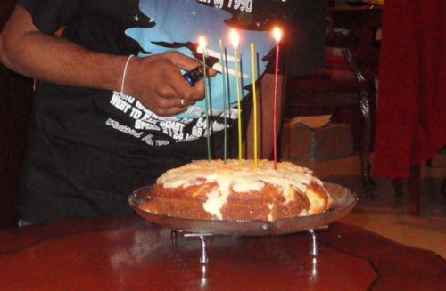 Problem: My brother's turned 21, but we don't have 21 candles. My brother's solution: Count 21 out in binary using 5 candles. So. Cool!