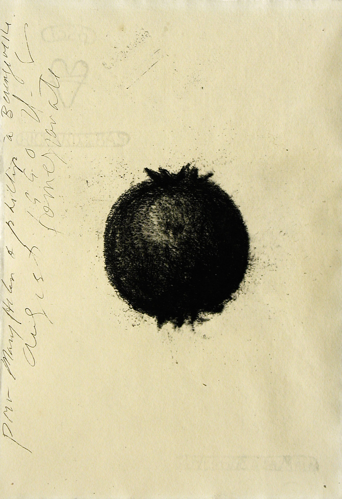 mondonoir:  Donald Sultan, Untitled (Pomegranate), Charcoal on paper, 1990