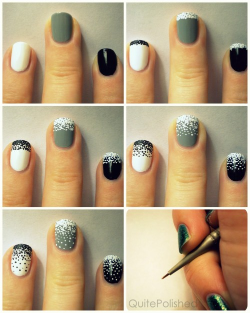 drugstoreprincess:  quitepolished: I made a tutorial! I hope this is something that possibly helps people, because I know some people said they wanted to try out my stippling gradient nails. Okay, so words to go with the pictures: First you need to paint your nails with which ever color you like. In my original nails I chose a black base, but I like white much better. Then, using a tiny dotting tool (or a needle, possibly a toothpick, I used a #18/0 spotter brush) make a bunch of dots near the tip of your nail, so many that barely any of the base color shows through. You can use nail polish for this, but I chose to use acrylic paint. After that keep working in sections, using less and less dots and making the sections ever so slightly bigger until you reach your cuticle. If you have long nails you could probably stop before the cuticle, or you could just make the sections bigger. I like to do four sections, but you could do more or less depending on how gradual you want the gradient.  If there's any confusion please let me know and I'll try to clarify!