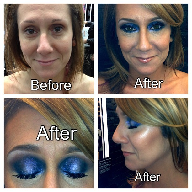 Before and After 😁 What she wanted: tanned, dewy skin with a jeweled toned blue smokey eye 💁 #nofilter #photooftheday #iphonesia #ilovemaciggirls #blue #smokeyeye #eyeshadow #makeup #beauty #mac #maccosmetics #instagood (Taken with instagram)