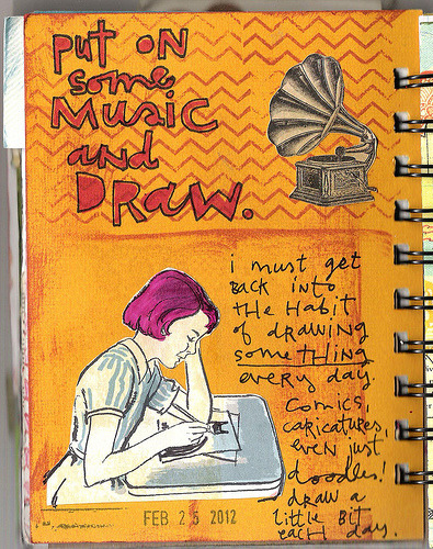 coreymarie:  Put on Some Music and Draw. 056 / 366 Art Journal Pages (by coreymarie♥com)