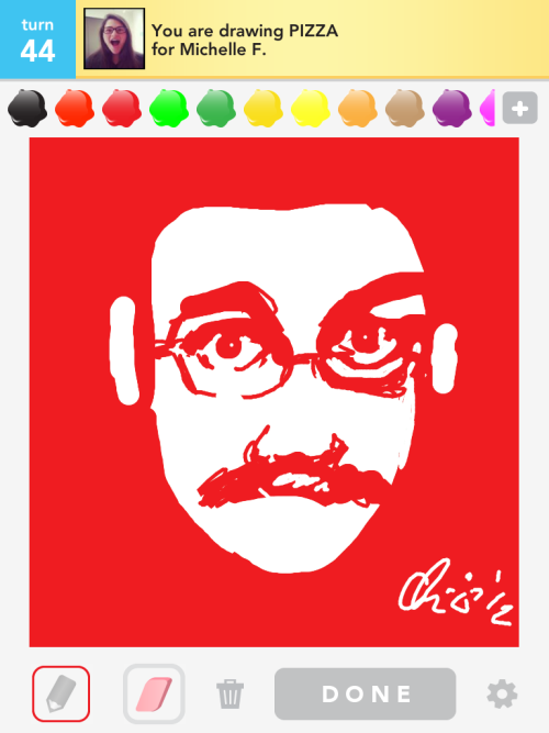 bonsaifiasco:  while playing Draw Something with a fellow nerdfighter, i got the word 'pizza'… and i just HAD to draw this. (apologies to valerie2776.)