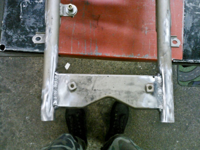"Monster Project mini update… seat mount bracket rewelded after extra 6"" frame chop! I am very fortunate that Heath Knapp, AMAZING welder is helping with this project."