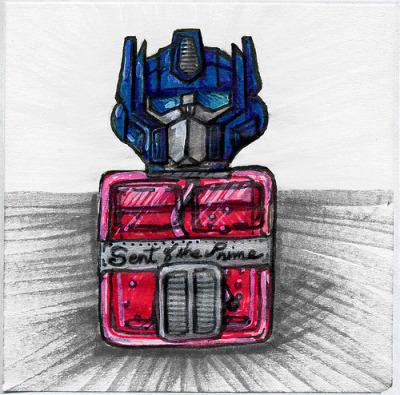 """Scent of the Prime"" a doodle inspired by a misheard song lyric in the song ""Feeling Good"" by Michael Bublé. The actual lyrics go like this:  Stars when you shineYou know how I feelScent of the pineYou know how I feelOh freedom is mineAnd I know how I feel  What would Optimus Prime Cologne smell like? Gun metal and Oil? I hope you like it."