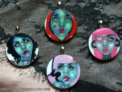 Handmade PrettyLittleZombie necklaces. http://www.etsy.com/shop/PrettyLittleZombies?section_id=10060006 Necklace Section http://prettylittlezombies.etsy.com