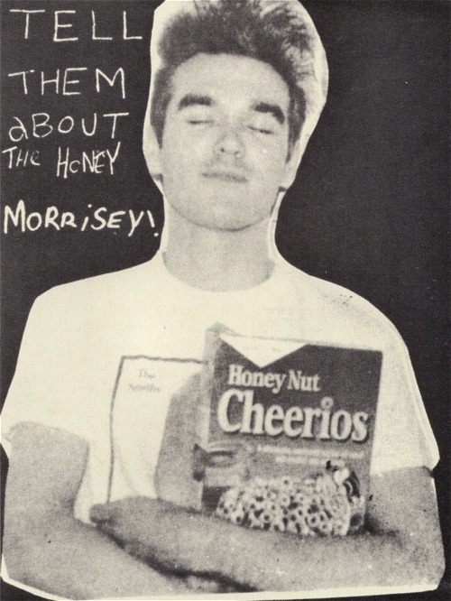 "madformorrissey:  ""After the interview he let me take some photographs. In his kitchen I was amused to see that the cupboards were utterly bare aside from three products: a tin of baked beans, a carton of weight gain powder and a packet of Honey Nut Cheerios. Somehow I convinced him to pose with all three. As if meeting your idol wasn't bizarre enough."" -Johnny Dee (fanzine writer who still managed to spell Morrissey's name wrong.)"