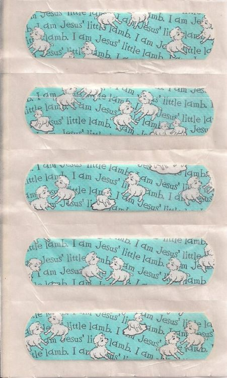 Little Lamb of Jesus band-aids (Found at Cold Dirt Press; For a related video, click here http://christiannightmares.tumblr.com/post/802260172/baaaaa-becky-blackmon-teaches-women-how-to-be)
