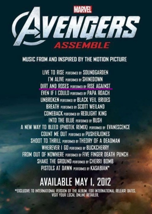 Rise Against has a brand new song on the Avengers Assemble Soundtrack! Hits stores and iTunes MAY 1!!